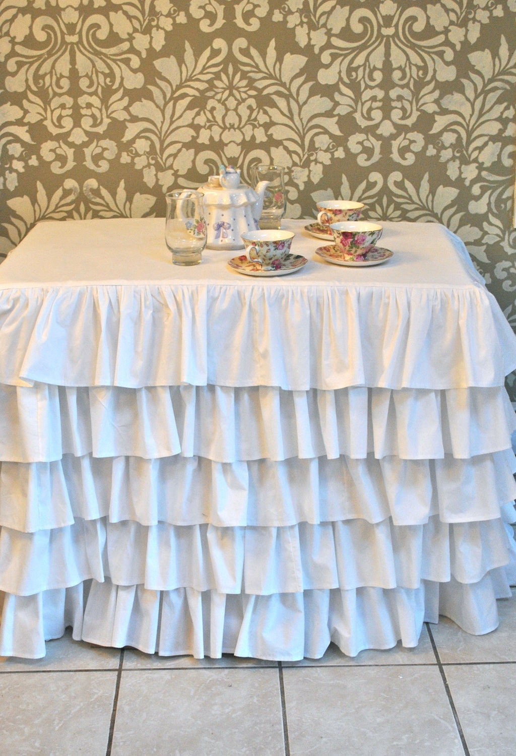 White Ruffle Tablecloth Ruffled Tablecloth
