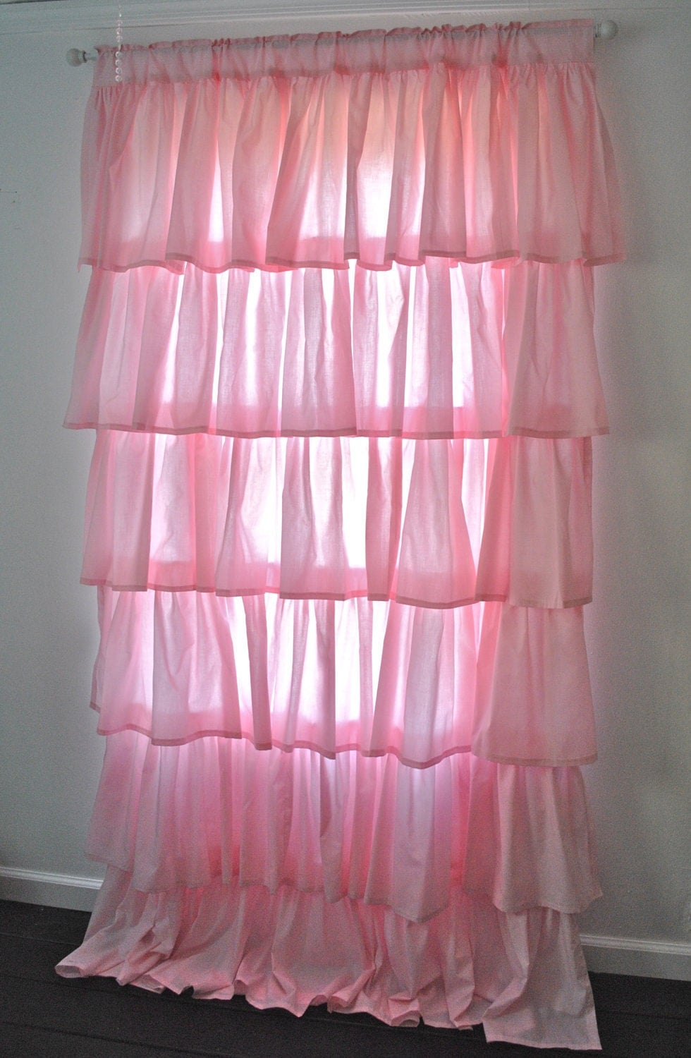 Pink Cotton Ruffled Curtain Ruffled Curtains