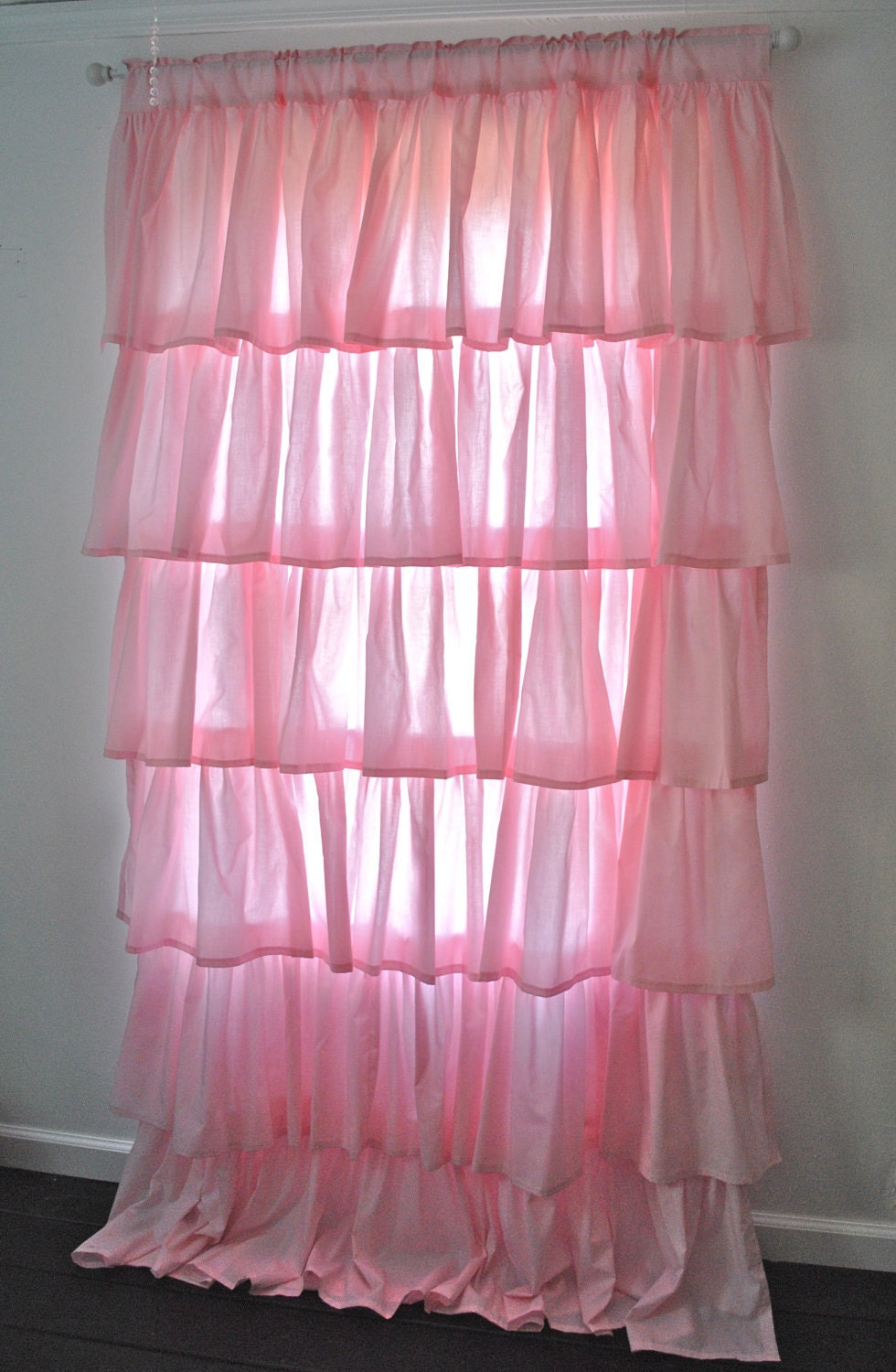Pink Cotton Ruffled Curtain Ruffled