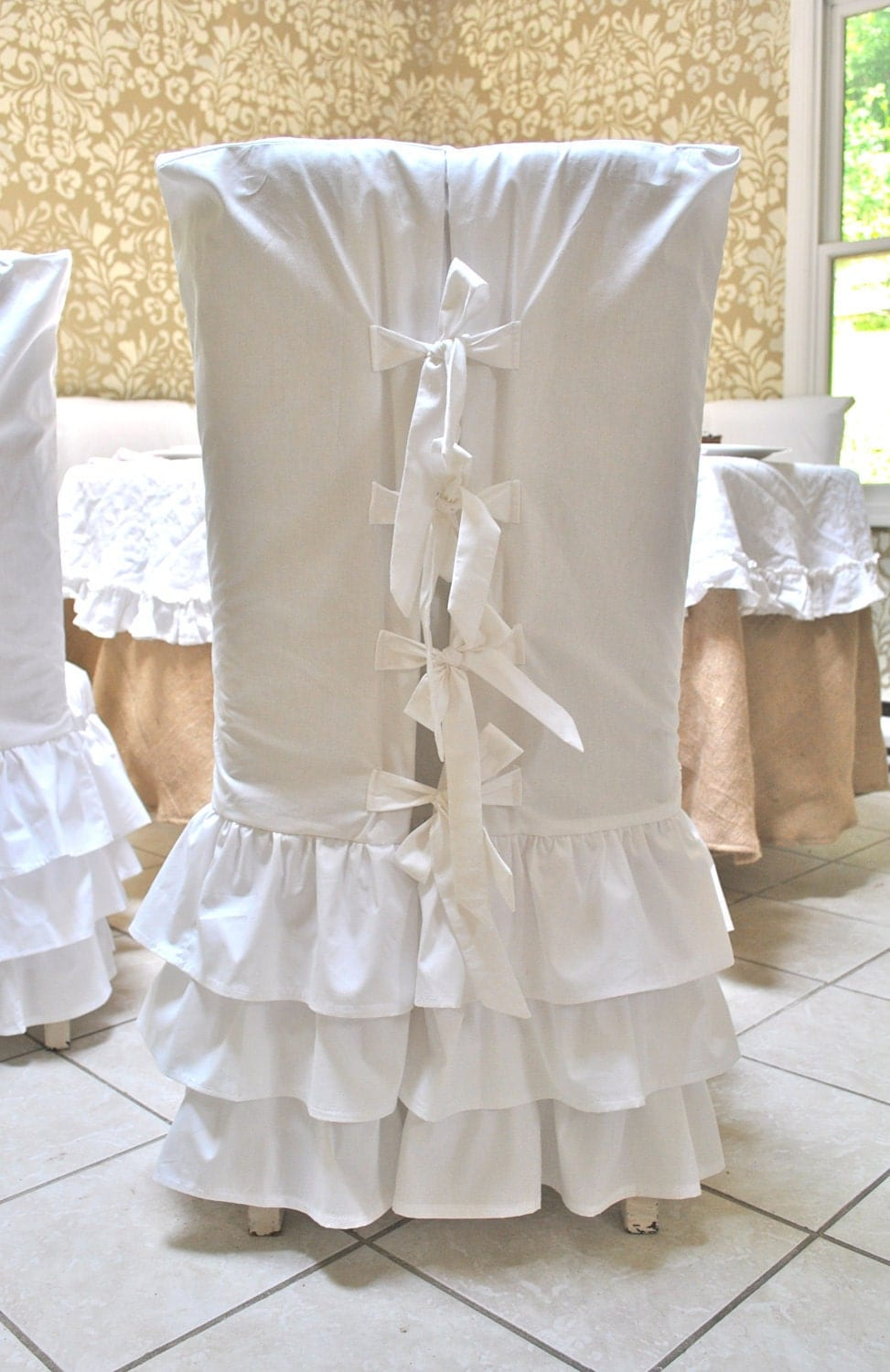 shabby chic dining room chair covers | FREE SHIPPING White Ruffle Chair Slipcovers