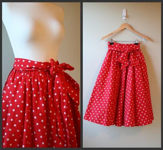 Vintage 1960 Red and white polke dot full swing skirt