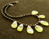 MADE TO ORDER Bronzite and serpantin necklace with handmaded copper original elements  made in Israel