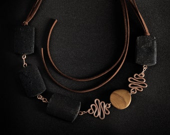 Statement Necklace, black and brown.