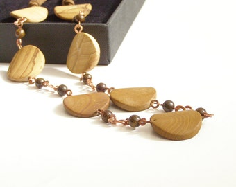 Wooden Links Long Casual Necklace