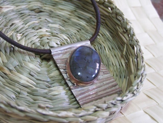 Massive Sterling silver and copper pendant with Labradorite Gemstone