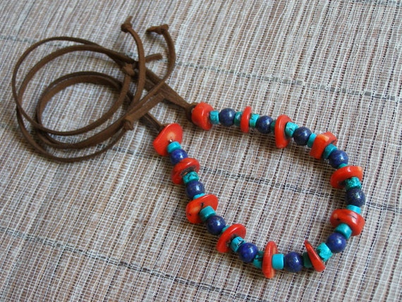 Lapis, bamboo coral and turquoise necklace on suede cord handmade in Israel MADE TO ORDER