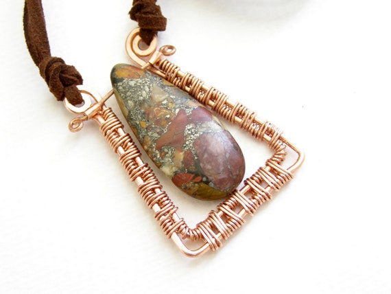 Tribal geometric copper pendant earth colors red brown black on suede casual necklace handmade Israel