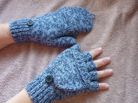 Knitting Pattern For Mittens With Flaps : Convertible Fingerless Gloves/Flap Mittens Handknitted NEW