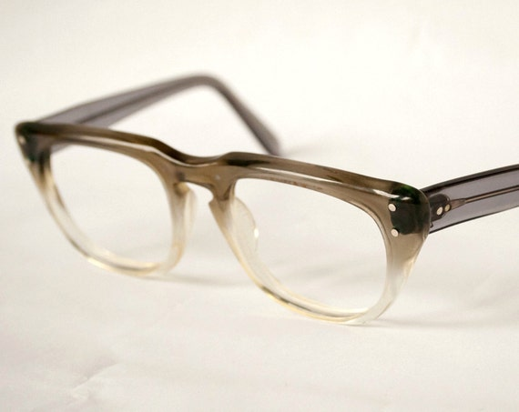 Vintage Horn Rim Eyeglasses - Grey to Clear Fades 48-20 - Pathway