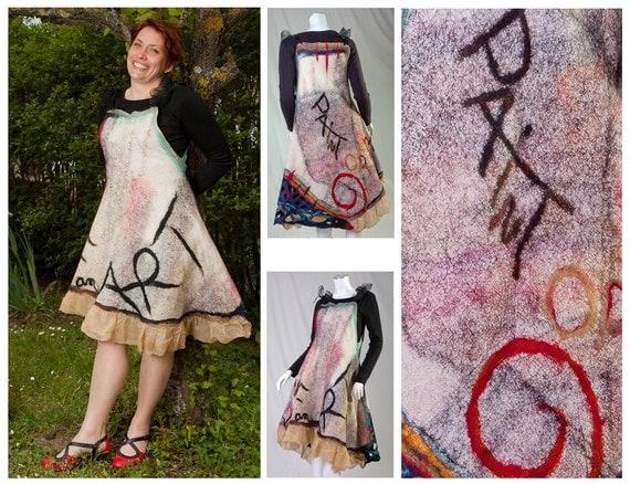 Reversible women dress - OOAK  2 in 1 art clothing - wearbale art garment - fiber art dress  - multicolore - made in France