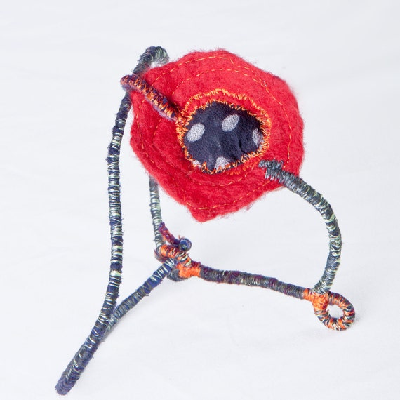 modular poppy felt necklace jewellery, floral embroidery red nuno felt neckpiece, outstanding fairytale accessories
