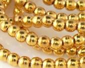 3mm Round 24K GOLD PLATED Czech Glass Beads 100