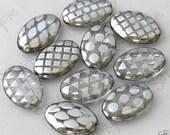 SILVER PEACOCK, Oval Czech Glass Beads - 10