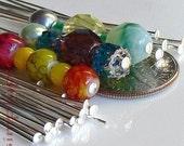 Silver Headpins, 3-Inch Long, 25 Brass Head Pins, 21-Gauge