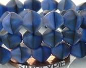 6mm Czech Bicone Beads, Matte Denim Blue Black Swirls, Double Cone 25