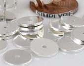 10mm Flat Disc Silver Metal Beads 25