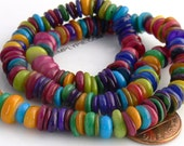 Free-form Rondelle Mother of Pearl Shell Beads Assorted Colors Full Strand