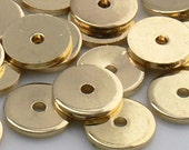8mm Flat Disc Gold Plated Metal Beads 50