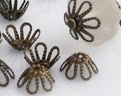 Antiqued Brass Filigree Flower Bead Caps 50