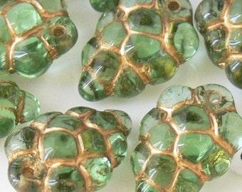 Grape Fruit Peridot Gold Czech Glass Beads 12 Grape Bunch Vine Fruit