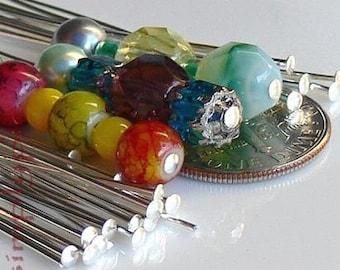 2-Inch Long Silver Headpins, Brass Head Pins, 21-Gauge 50