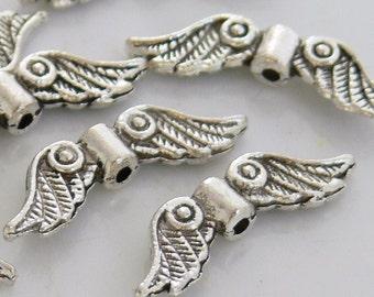 Silver Angel Wings Antiqued Silver Wings 12 Charms Wings Metal Beads