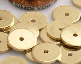 10mm Flat Disc Gold Metal Beads 25