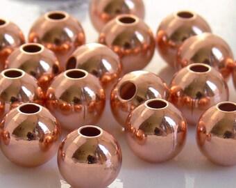 8mm Round COPPER Metal Beads 12 w/ Anti-Tarnish