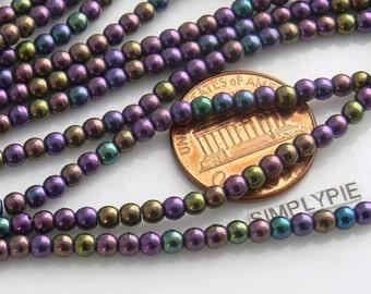 Iris Purple Round Czech Glass Beads Druk 3mm 50