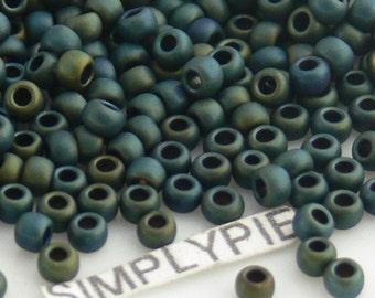 11/0 TOHO Matte Iris Green Glass Seed Beads 10-Grams