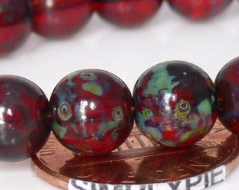 Ruby Red Picasso Czech Glass Beads 8mm 20 Round Druk