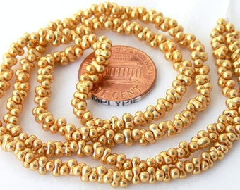 Gold Farfalle Czech Glass Beads 18-Inch Long Strand