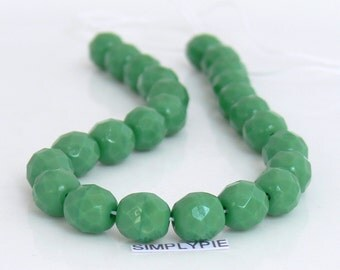 Green Czech Glass Beads 8mm Fire Polished 20 Opaque Faceted Round