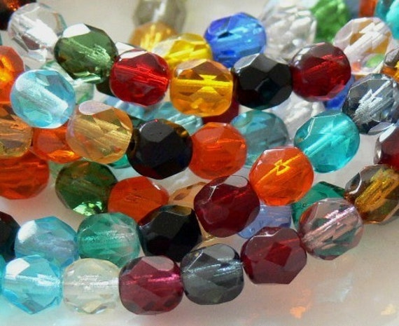Assorted Colors, Czech Beads Fire Polished 6mm 25 Faceted Round GLass