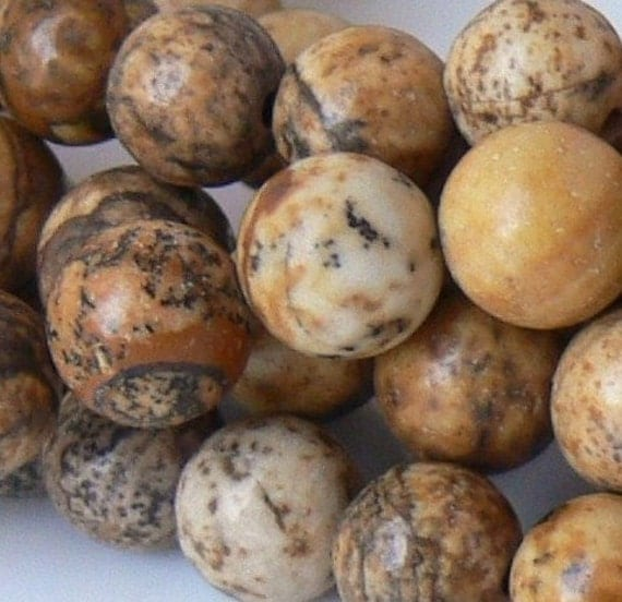 6mm Round PICTURE JASPER Gemstone beads 16-inch Strand - Pls use sale coupon and save.