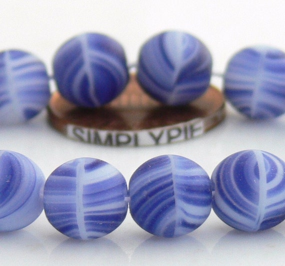 20% OFF Matte Blue White Swirls, Czech Glass Beads, 8mm Druk 20 Round Beads