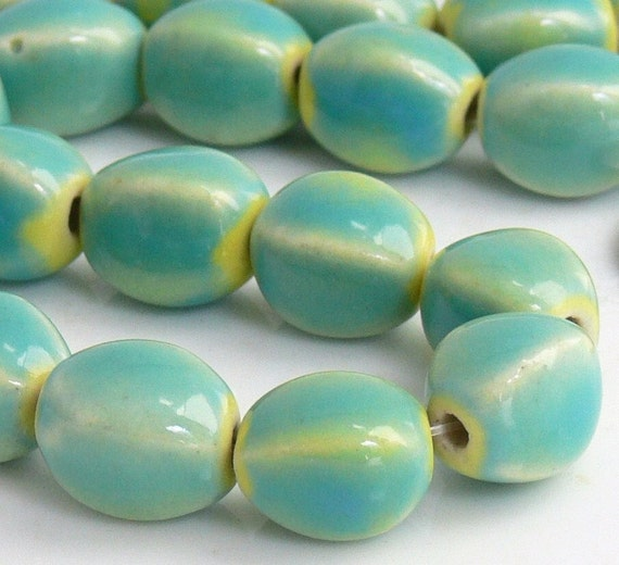 4-Sided Oval Seafoam/Yellow Porcelain Beads 15-Inch Strand 33 - Pls use sale coupon and save..
