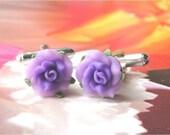 Purple English Rose CuffLink