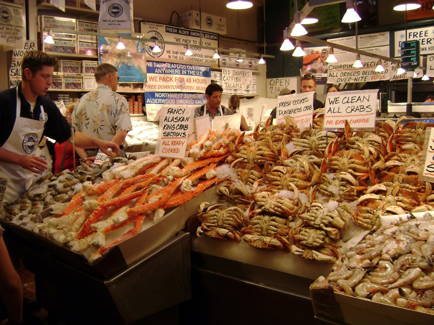Seafood market in seattle ii fine art by bluedoorphotography1 for Columbus fish market menu