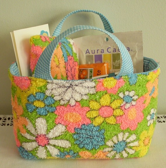 Get Well Soon Caddy Tote Care Package, Vintage Fabric, Fast Shipping