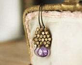 Sale / 20% off / Amethyst Brass Earthy Earrings / Purple Lavender Earrings / Gemstone Jewelry / Boho Plum Earrings