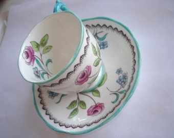 Roslyn Victorian China Cup and Saucer Derwent Flower  Hand Painted