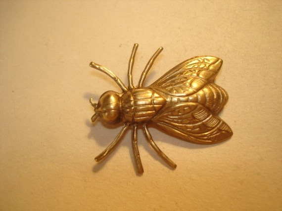 Fly Repousse Vintage Jewelry Brooch