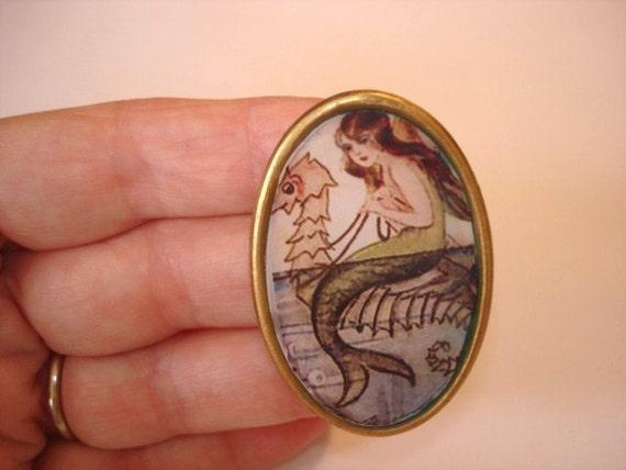 Mermaids  0n Sea Horse Brooch KL Design