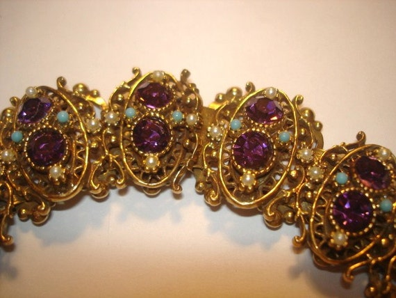 Amethyst Pearl Turquoise  Rhinestones Vintage Jewelry Bracelet Signed BSK 1950s