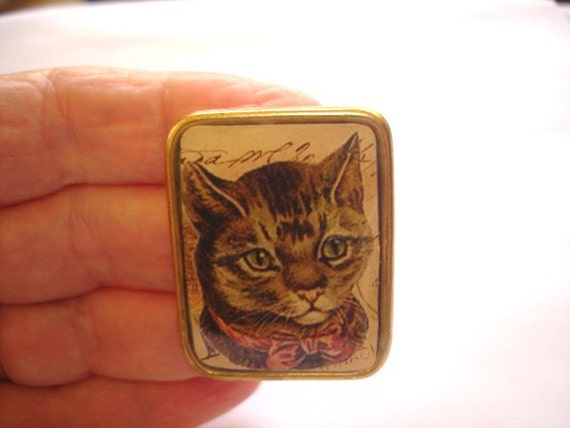 Cat with Fancy Bow Brooch