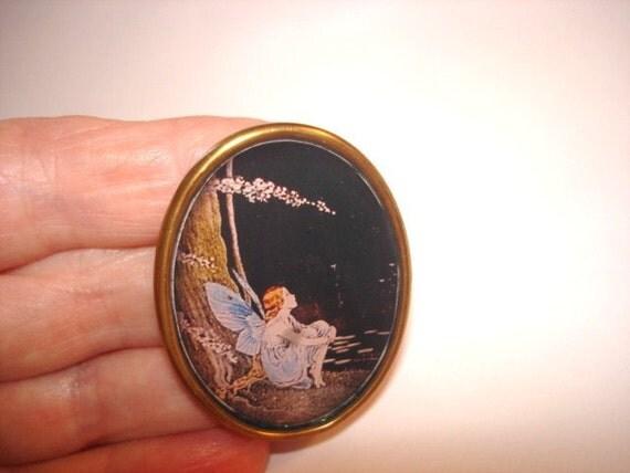 Fairy Watching Stars Vintage Jewelry Brooch KL Design