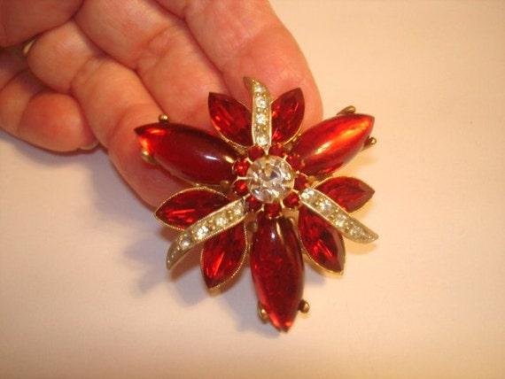 Vintage Jewelry Ruby Clear Rhinestone Brooch Gold Tone