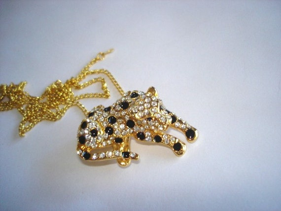 Panther Jewelry Pendant Clear Rhinestone Gold Tone