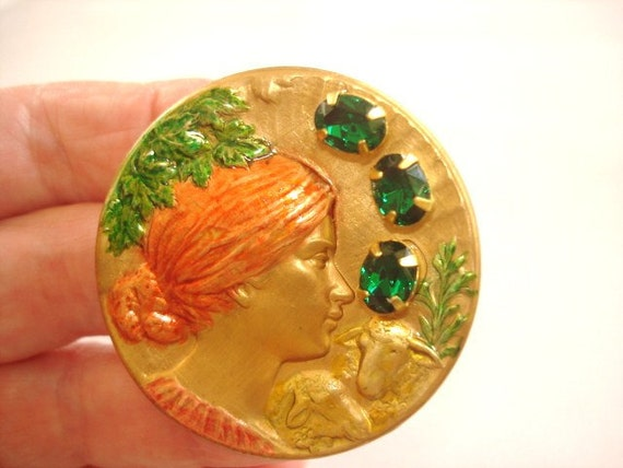 Vintage  Jewelry Lady with  Lamb Animal Brooch Emerald Crystals  Multi Tones Repousse